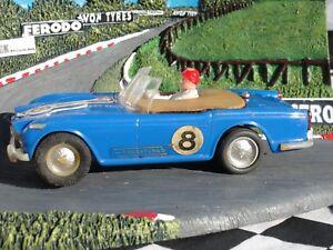 Scalextric 1960's Triumph Tr4 # 8 Blue C84 1:32 Slot Utilisé Sans Boîte