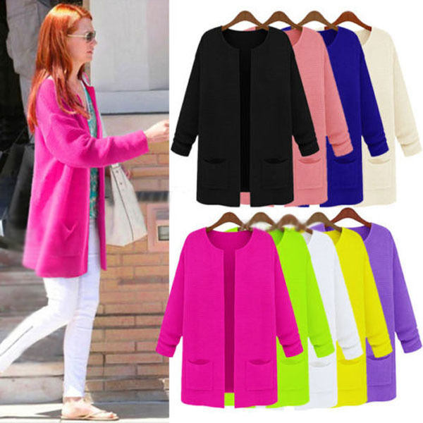 NEW Womens Ladies Female Long Sweater Kimono Jacket Cardigan Coat Outerwear Knit