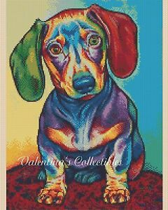 Counted Cross Stitch COLOURFUL POP ART DACHSHUND DOG - COMPLETE KIT #2-392/2 KIT