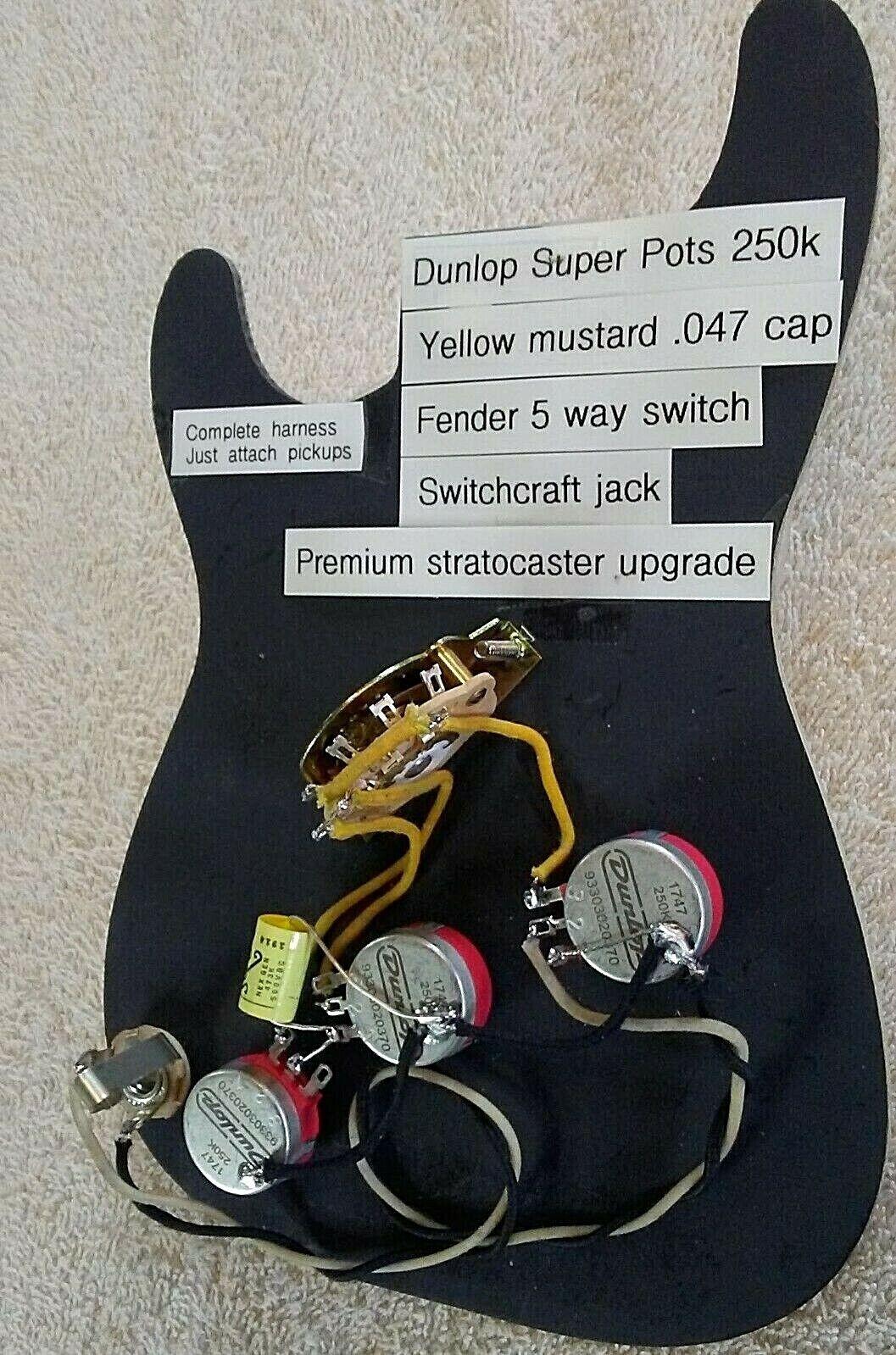 Stratocaster Solderless wiring upgrade Dunlop super pots Gelb mustard.045 cap
