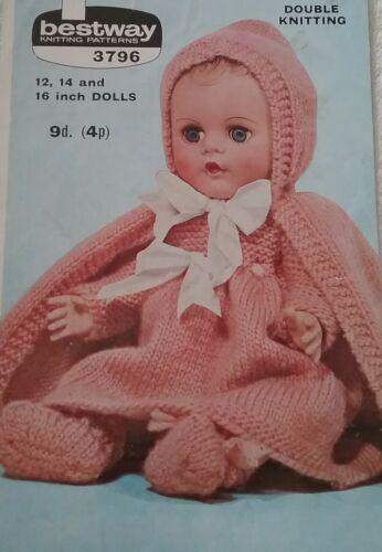 """Tejer patrón para las muñecas ropa 12,14/"""" 16 Pulgadas Muñecas dk 3796"""