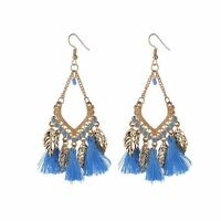 1 Pair Women's Fashion Rhinestone Dangle Ear Stud Earrings Crystal Chain Jewelry
