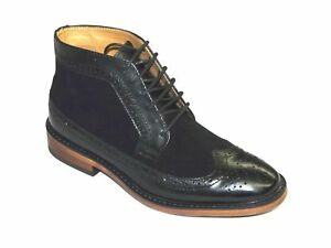 La-Milano-Men-039-s-Boot-Wing-Tip-Oxford-Black-Leather-Suede-Style-B5903