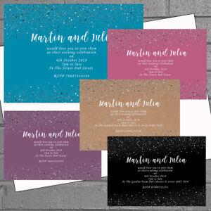 50-x-Wedding-Evening-Day-Reception-Invitations-Invites-Silver-Sparkle-H1902