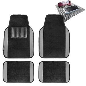 4pcs Carpet Floor Mat for Auto Car Van SUV Full Set Gray w/ Gray Dash Mat