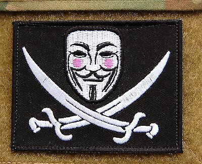 V For Vendetta Calico Jack Morale Patch AnonymousVELCRO® Brand  Hook Backing