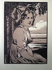 Charles SPINDLER gravure sur bois woodcut Alsacienne costume femme Alsace