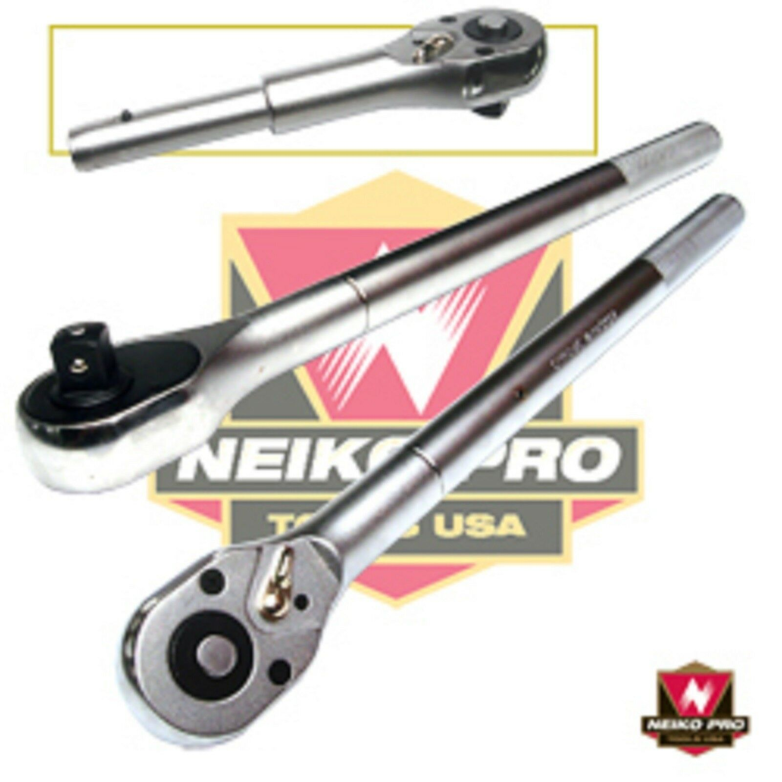 "NEIKO PRO TOOLS 1/"" DRIVE x 26/"" Long 24 TOOTH INDUSTRIAL-GRADE RATCHET"