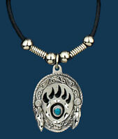Pewter Bear Claw Necklace On 24 Leatherette Cord Made In The Usa