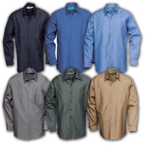 b110799532e Image is loading Work-Shirts-Industrial-Uniform-Mechanic-2-Pockets-Long-