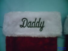 PERSONALIZED MONOGRAMED ,RED & WHITE  PLUSH CHRISTMAS STOCKINGS ,EMBROIDERED