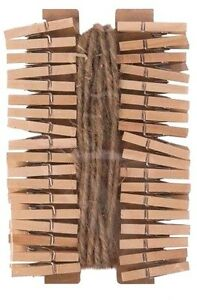 36-Mini-Wooden-Clothes-Pegs-Twine-Natural-Wood-Clips-Hanging-Decorative-Photo