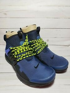 Nike Air Presto Mid Utility Navy Blue Obsidian Volt 859524-402 Men's Size 12