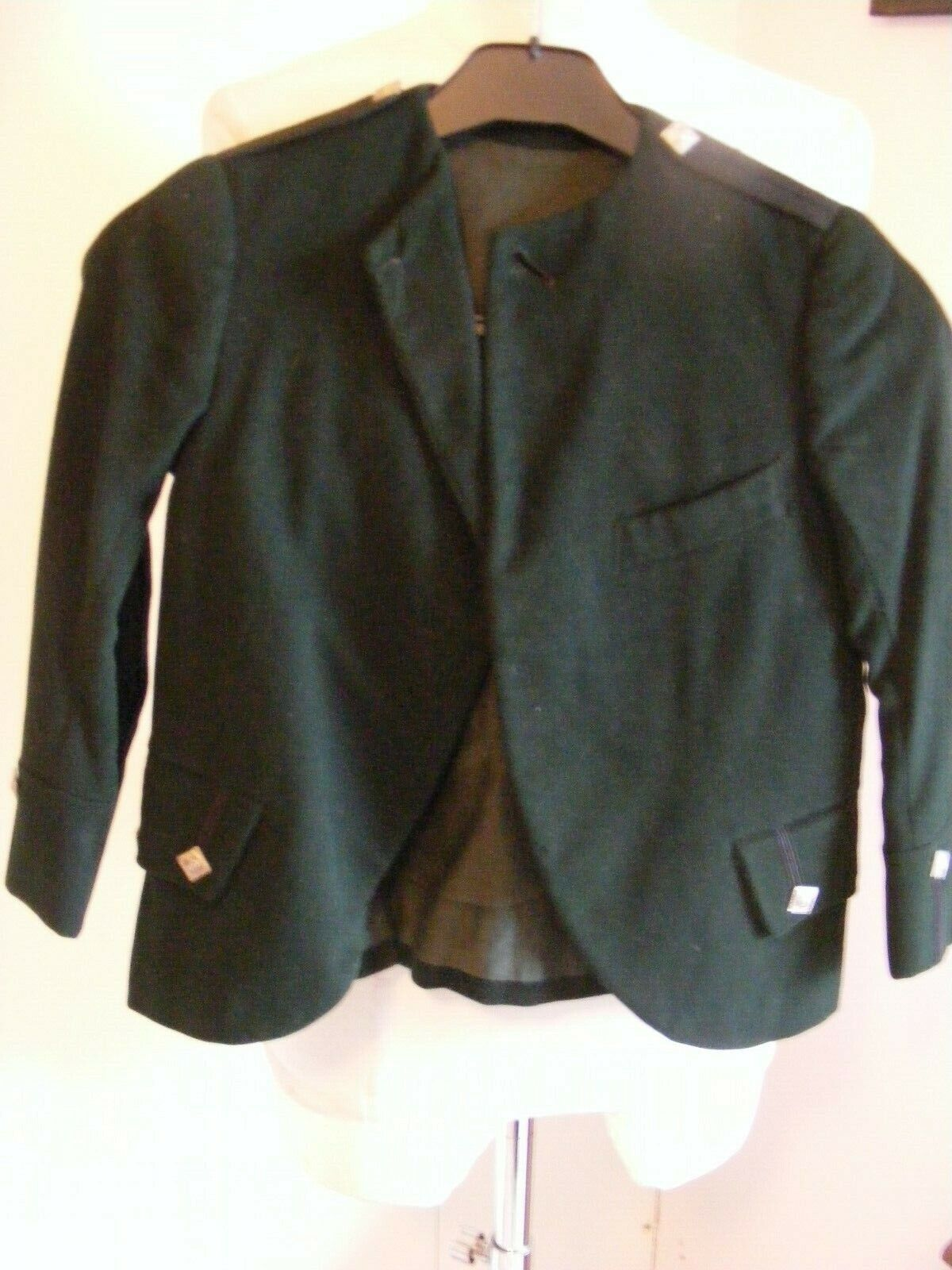 Vintage green wool child's Scottish Jacket wear with kilt Clann na Gael buttons