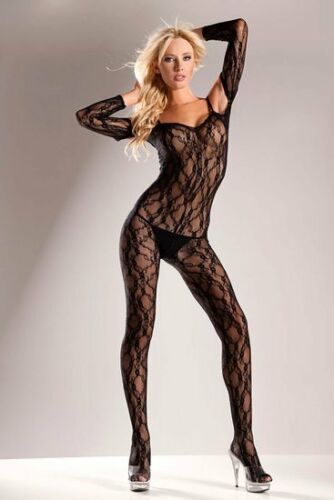 BWB16Q Peek A Boo Long Sleeve Lace Body Suit Queen Size 165-250lbs b Be Wicked