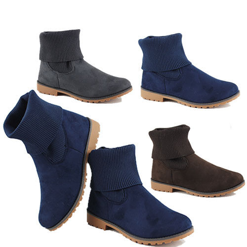 WOMENS LADIES CASUAL FOLD OVER KNITTED SOCKS ANKLE CHELSEA BOOTS SHOES SIZE 3-8
