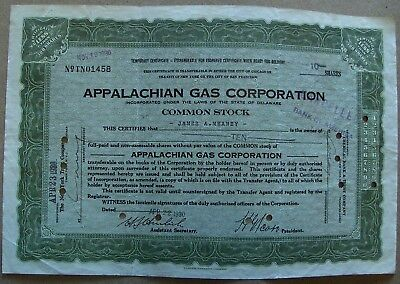 Oil & Gas Coins & Paper Money Analytical Temporary Stock Certificate Appalachian Gas Corporation 1930 W/stamps Green Good For Antipyretic And Throat Soother