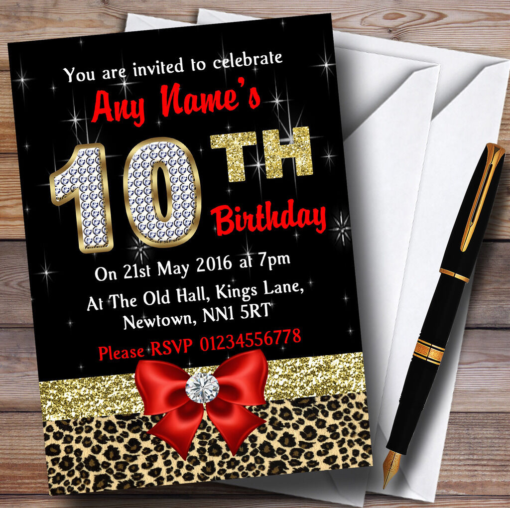 Red Diamond And Leopard Print 10Th Birthday Party Personalised Invitations