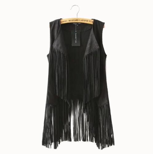 Damenweste Übergang Jacke Fransen Wildleder Steppweste Outdoor Schwarz Braun XL