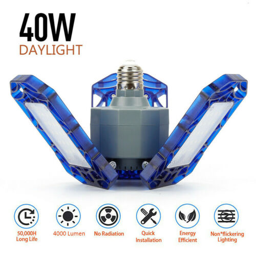 40//60W E27 LED Garage Light Bulb Deformable Shop Ceiling Fixture Workshop Lamp