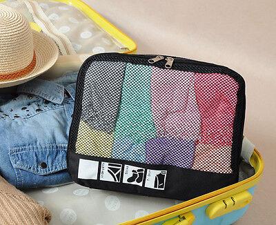 Black Packing Cube Travel Clothes Socks Shirts Storage Garment Bag Organizer Kit