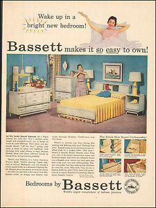 1956 Vintage Ad For Bassett Bedroom Furniture Art Retro Photo Lamp