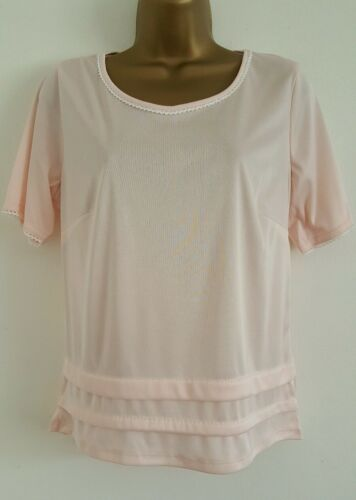 NEW Ex M/&S 10 12 14 Baby Pink White Lace Trim Linen Rich Top Blouse Tee T-Shirt