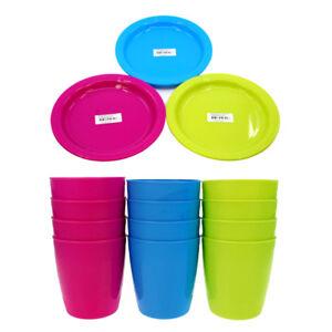 12er-Set-Mehrweg-Kunststoffbecher-amp-Kunststoffteller-Trinkbecher-Plastikteller
