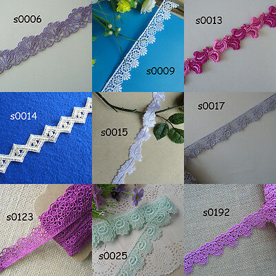 """9 Colors 1""""-1.25'' Wide Rayon Venise Lace Purplish Red, White, Green, Grey zhs5"""