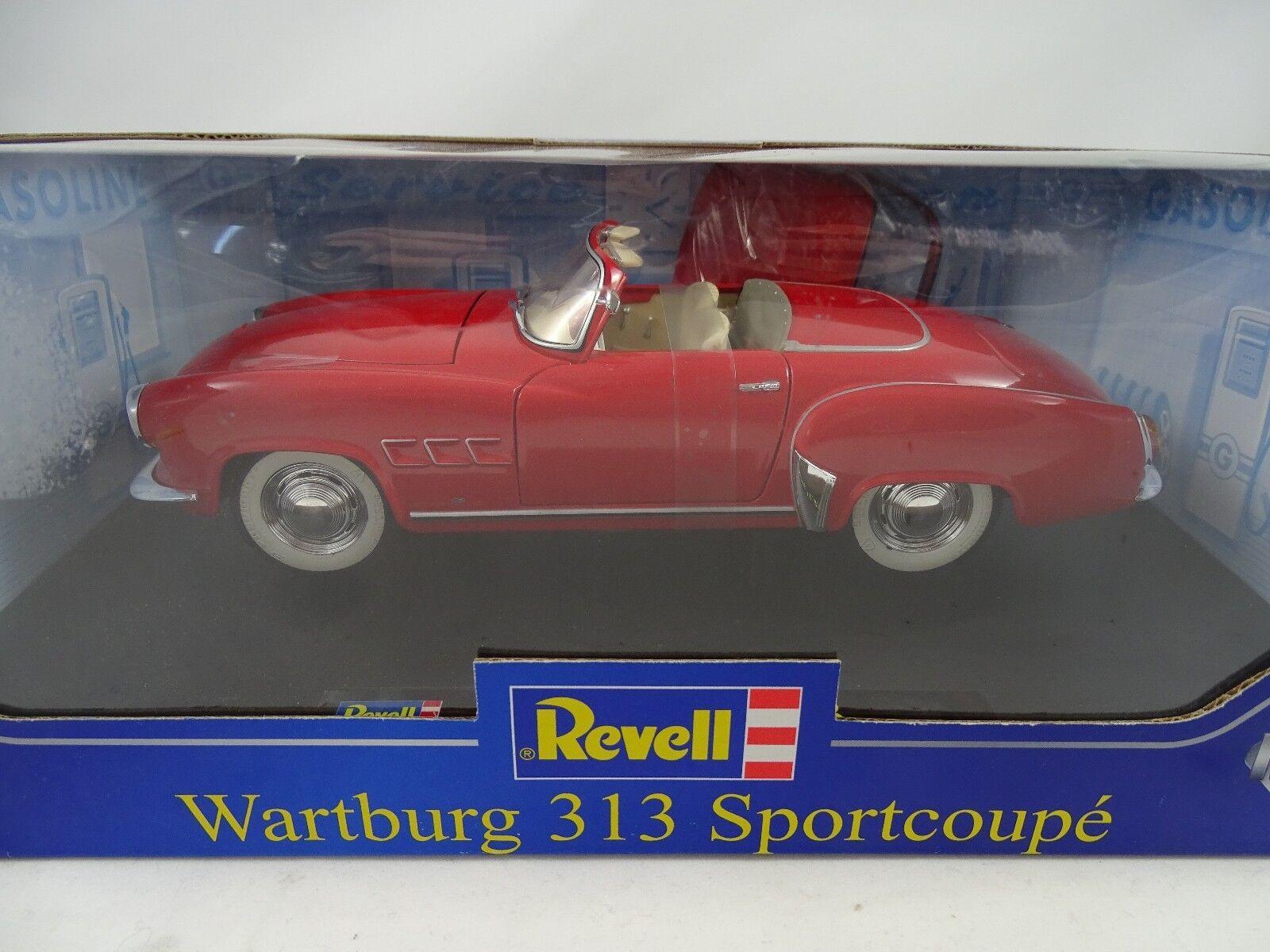 1 18 Revell Wartburg 313 Sport Coupe rosso m. Zus. capota-rareza nuevo en el embalaje original §