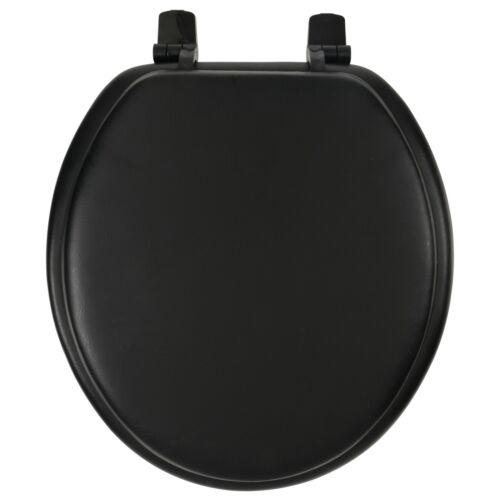 Round Soft Toilet Seat Standard Size Adjustable Plastic Hinges Nut Bolt Black