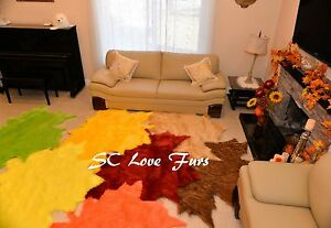 Image Is Loading Fall Leaves Area Rug Orted Colors Faux Fur