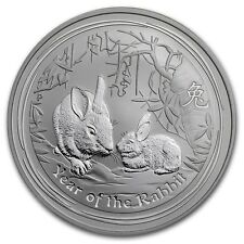 2011 AUSTRALIAN LUNAR II 1/2 Oz. SILVER COIN YEAR OF THE RABBIT BU