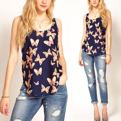 Blusen-T-Shirt De F7C6 Frauen-Schmetterling drucken ärmellose Top-Weste-Chiffon