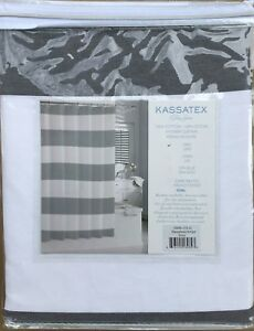 Image Is Loading NEW Kassatex Hamptons Gray Stripe Shower Curtain 72