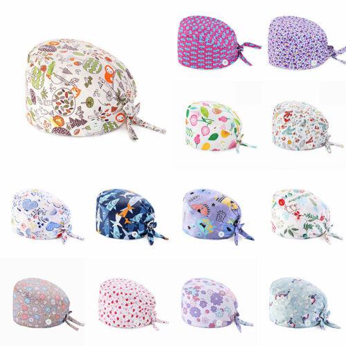 Surgical Cap Doctor Nurse Cotton Bouffant Caps Adjustable Head Cover Hats Cotton