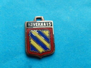 Medaille pendentif BLASON VINTAGE ARMOIRIE VILLE EMAILLE NIVERNAIS REGION