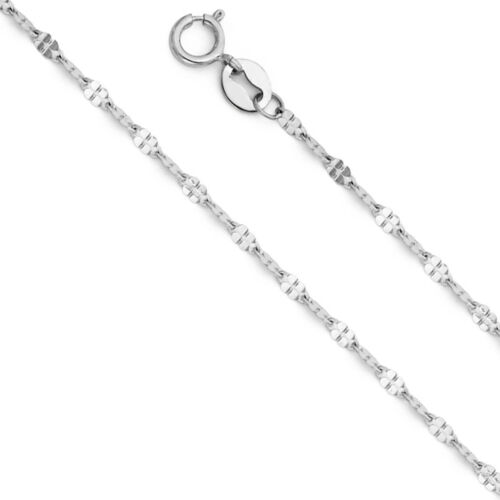 14K Real White Gold 1.7mm Twisted Mirror Chain Necklace 16/'/' 22/'/' for Women