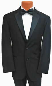 New-Mens-Black-Calvin-Klein-Tuxedo-Jacket-with-Flat-Front-Pants-Super-100s-Wool