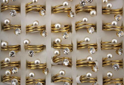 Fashion Acier Inoxydable 29pcs imiter Perle Zircone cubique spirale design Girl Charm anneaux