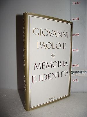LIBRO Giovanni Paolo II MEMORIA E IDENTITÀ Conversazioni a cavallo dei millenni☺