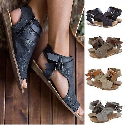 Women Summer Gladiator Sandals Open Peep Toe Casual Flat Buckle Ankle Strap Shoe | eBay
