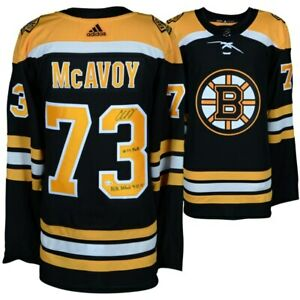 bff15539e Image is loading CHARLIE-McAVOY-Autographed-Boston-Bruins-Authentic-Stat -Jersey-