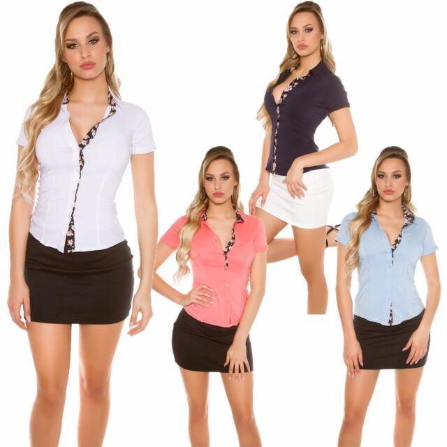 Damen Business Hemd Bluse Blumenprint Stretch tailliert 34 36 38 Büro Business