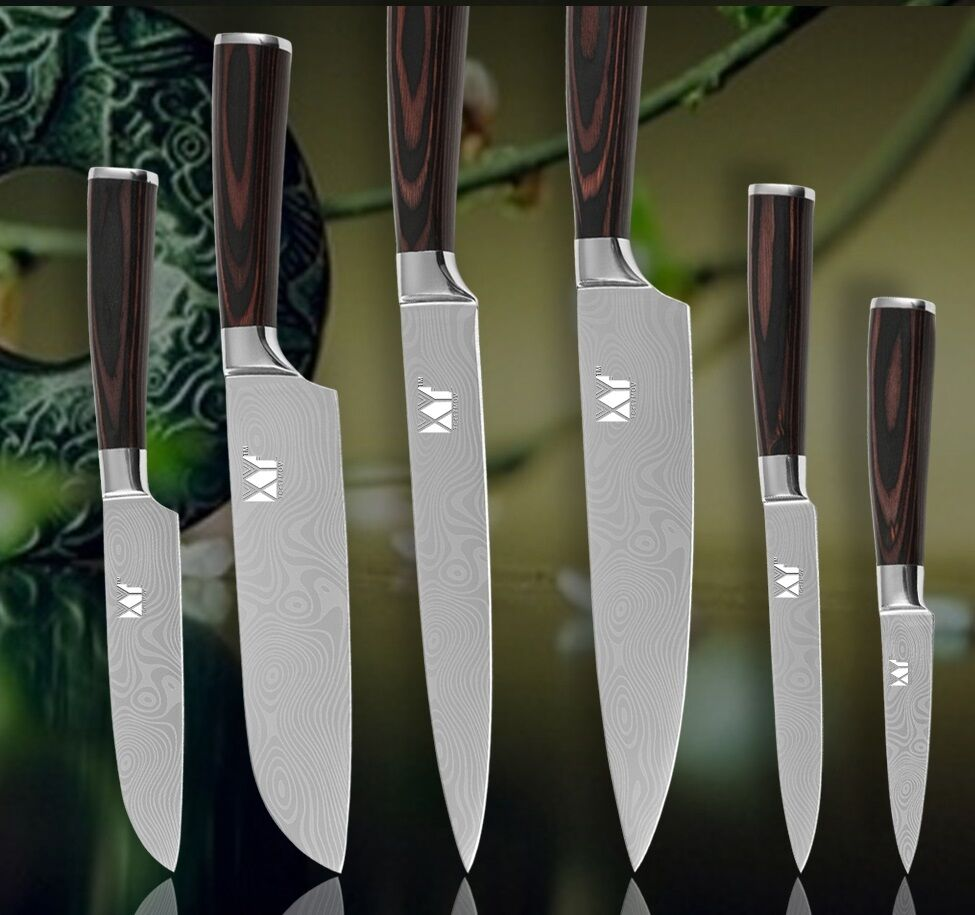 6pcs Set Kitchen Knives Chef Slicing Santoku Utility Pairing Damascus Steel Inch