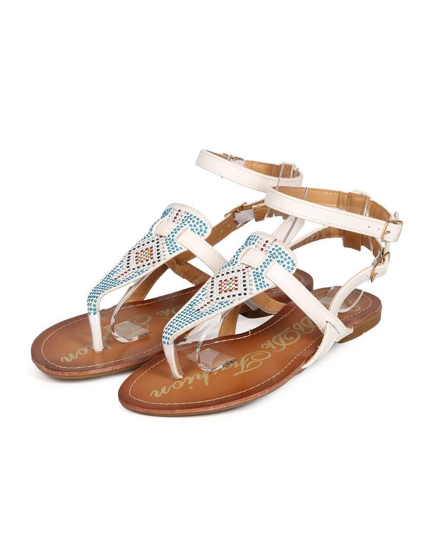 New Women DbDk India-6 Boho Studded Sandal Ankle Strap Gladiator Thong Sandal Studded Size bb088f