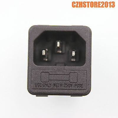 5PCS IEC320 C14 Male Power Cord Inlet Plug Socket With 250V Fuse Holder CCC CE