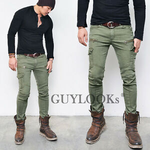 Pre Washed Mens Slim Skinny Fit Zippered Cotton Khaki Biker Cargo ...