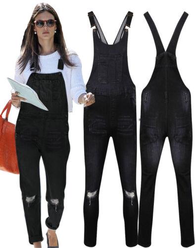 New Womens Ladies Denim Dungarees Slim Fit Ripped Black Wash Jeans Jumpsuit 8-18