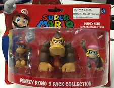 Nintendo Super Mario Mini Figure Pack Donkey Kong Diddy Kong Dixie Kong